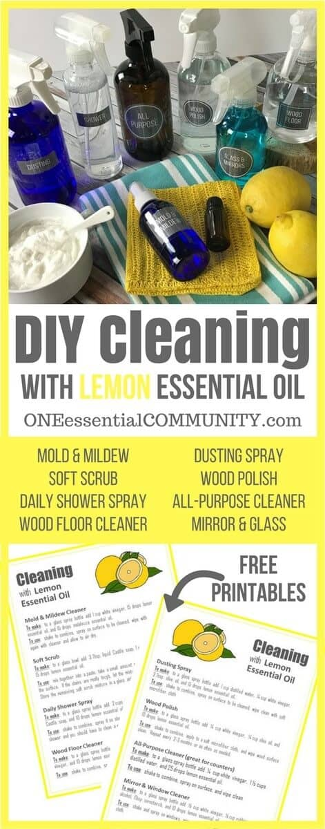 8 super simple (and effective) DIY recipes for cleaning with lemon essential oil (mold & mildew, soft scrub, daily shower spray, window & mirror cleaner, dusting spray, wood polish, all-purpose cleaner, and wood floor cleaner) PLUS a free PRINTABLE with all the recipes! #essentialoils #essentialoilrecipes #essentialoilcleaning #naturalcleaning #naturalDIY #essentialoilDIY #DIYcleaning