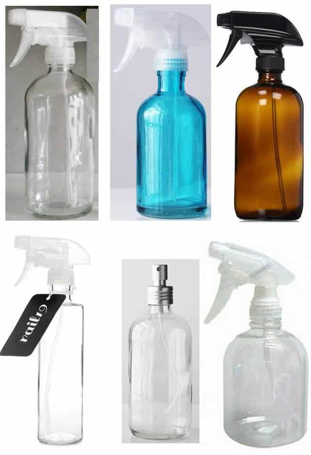 lead-free glass, plastic #1 (PET), and plastic #2 (HDPE) spray bottles perfect for using with diluted essential oils (like a linen spray or air freshener)