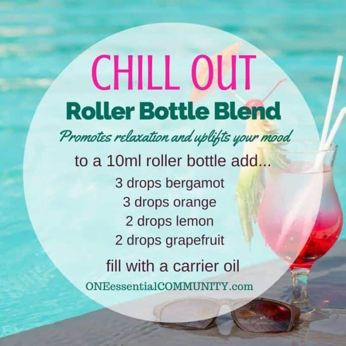 """chill out"" roller bottle blend promotes relaxatio and uplifts your mood-- LOVE this!! amazing find! there are tons of great roller bottle blends {and FREE super cute labels} for all kinds of emotions-- calm, focus, grounding, balance, gratitude, happy, energy, comfort, motivation, courage, confidence, cheer, creativity, and more!!"