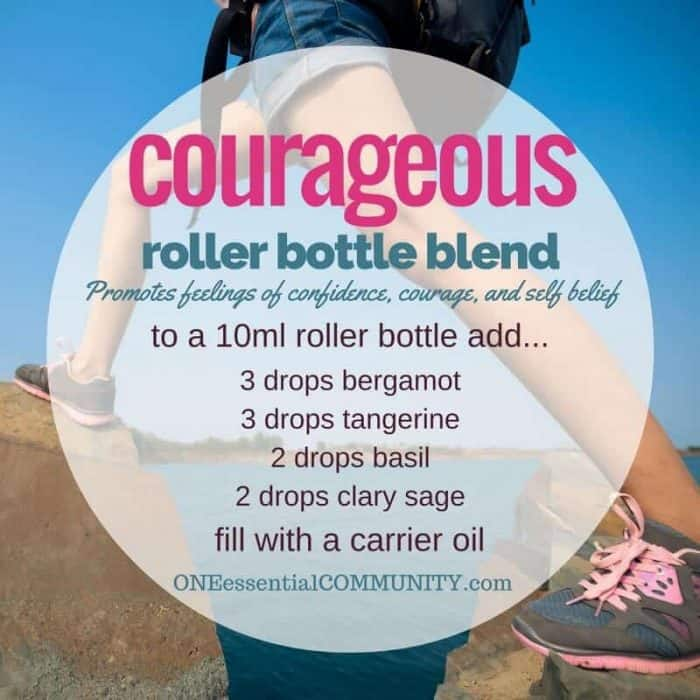 """courageou"" roller bottle blend promotes feelings of confidence, courage, and self belief-- LOVE this!! amazing find! there are tons of great roller bottle blends {and FREE super cute labels} for all kinds of emotions-- calm, focus, grounding, balance, gratitude, happy, energy, comfort, motivation, courage, confidence, cheer, creativity, and more!!"