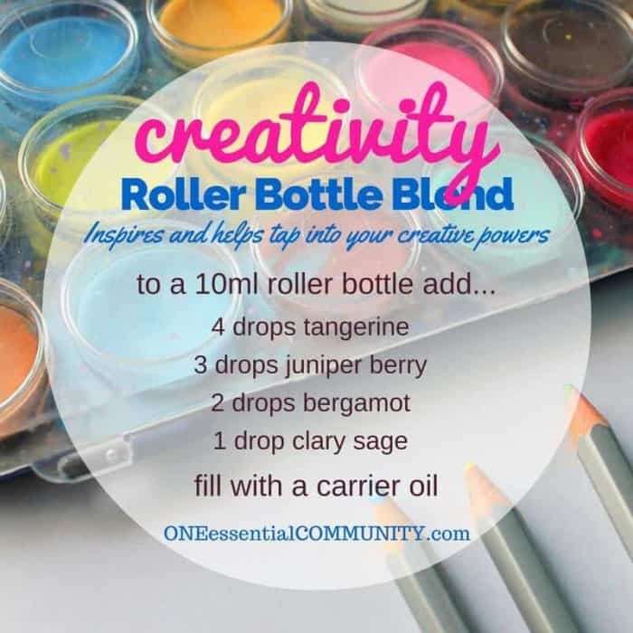 """creativity"" roller bottle blend inspires and helps tap into your creative powers-- LOVE this!! amazing find! there are tons of great roller bottle blends {and FREE super cute labels} for all kinds of emotions-- calm, focus, grounding, balance, gratitude, happy, energy, comfort, motivation, courage, confidence, cheer, creativity, and more!!"
