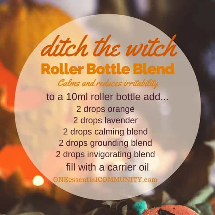 """ditch the witch"" roller bottle blend calms and reduces irritability-- LOVE this!! amazing find! there are tons of great roller bottle blends {and FREE super cute labels} for all kinds of emotions-- calm, focus, grounding, balance, gratitude, happy, energy, comfort, motivation, courage, confidence, cheer, creativity, and more!!"