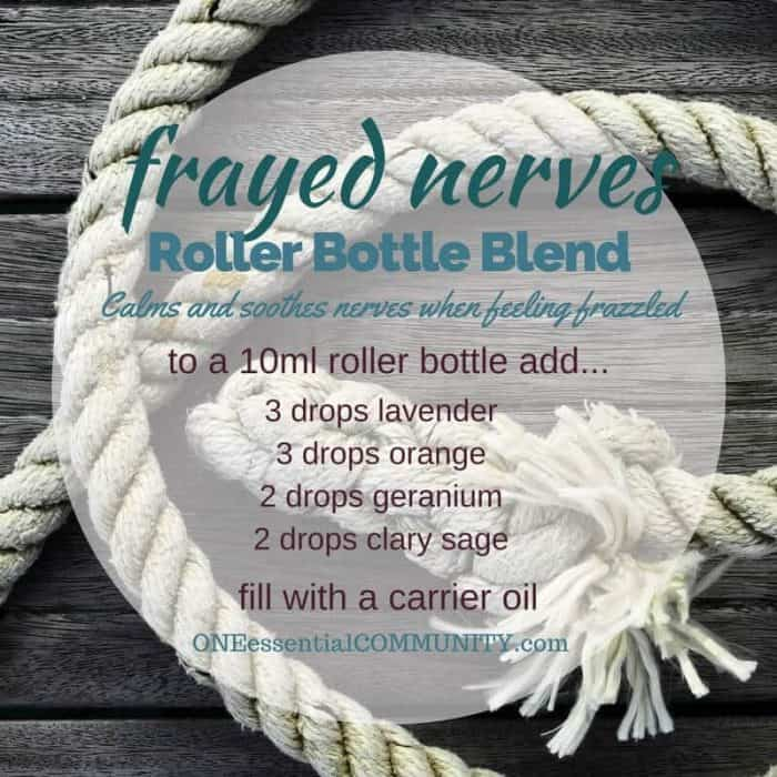"""frayed nerves"" roller bottle blend calms and soothes nerves when you're feeling frazzled-- LOVE this!! amazing find! there are tons of great roller bottle blends {and FREE super cute labels} for all kinds of emotions-- calm, focus, grounding, balance, gratitude, happy, energy, comfort, motivation, courage, confidence, cheer, creativity, and more!!"