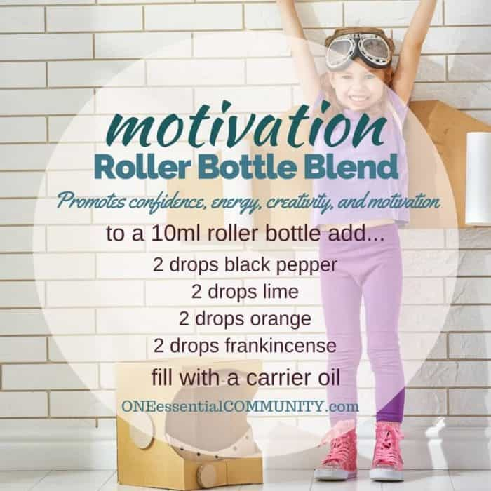 """motivation"" roller bottle blend promotes confidence, energy, creativity, and motivation-- LOVE this!! amazing find! there are tons of great roller bottle blends {and FREE super cute labels} for all kinds of emotions-- calm, focus, grounding, balance, gratitude, happy, energy, comfort, motivation, courage, confidence, cheer, creativity, and more!!"