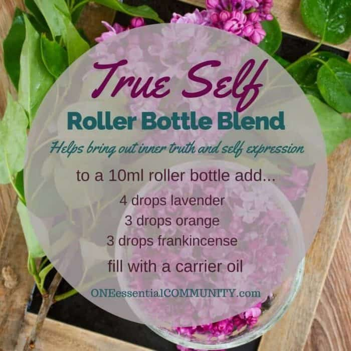 """true self"" roller bottle blend helps bring out your inner truth and self expression-- LOVE this!! amazing find! there are tons of great roller bottle blends {and FREE super cute labels} for all kinds of emotions-- calm, focus, grounding, balance, gratitude, happy, energy, comfort, motivation, courage, confidence, cheer, creativity, and more!!"