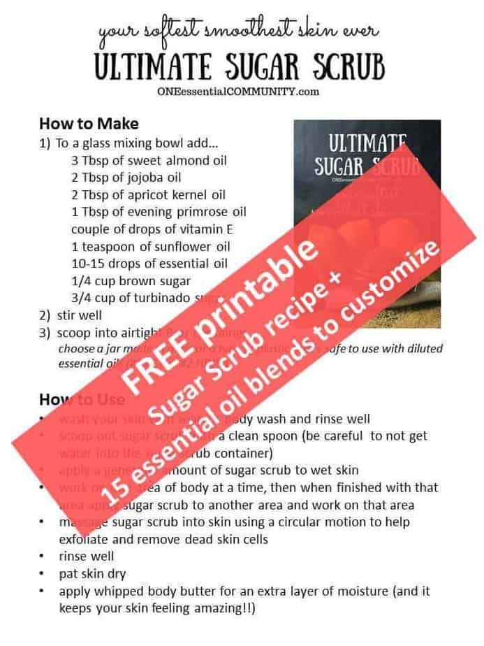 This is the BEST diy sugar scrub I've EVER used! It combines two types of sugar for great exfoliation as well as a blend of super moisturizing oils. Leaves skin super soft, smooth, and radiant! Plus there's even a free printable of the recipe and 15 essential oil blends so you can customize your own scent!!