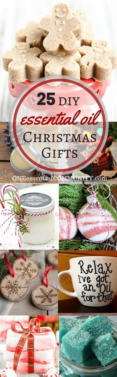 25+ easy homemade essential oil gifts for Christmas- includes bath bombs, soaps, scrubs, perfume, ornaments, mugs, diffuser necklaces, and more! #essentialoils #essentialoilrecipes doTERRA, Young Living, essential oil gifts, essential oil Christmas gifts, homemade Christmas gifts
