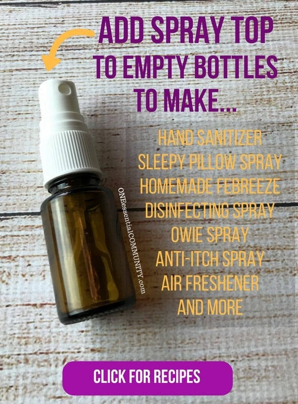 "30 essential oil uses for empty (or almost empty) bottles! So many great essential oil recipes including hand sanitizer, pillow spray, diffuser blends, owie spray, personal inhalers, ""Lysol"" disinfecting spray, skin toner, face serum, bath salts, air freshener, anti-itch spray, perfume, and LOTS MORE!! {essential oil recipes, essential oils for beginners, Young Living, doTERRA, essential oil DIY}"