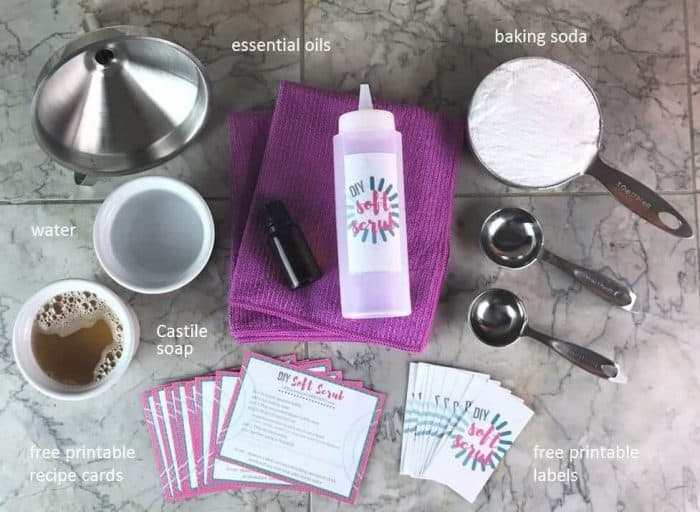 DIY Soft Scrub Recipe with Essential Oils - Great for cutting through soap scum, erasing stains, restoring shine to sinks, disinfecting ...