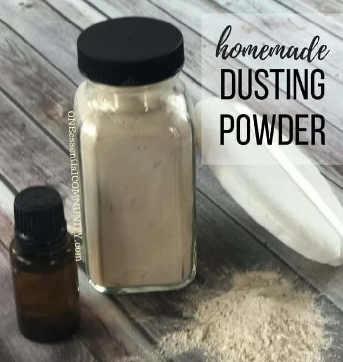 Homemade dusting powder gives skin a soft, silky, luxurious feel. Keeps you cool, dry, and smelling-fresh all day. Naturally scented with lavender, jasmine, and orange essential oils. {DIY dusting powder recipe with essential oils from ONEessentialCOMMUNITY.com}