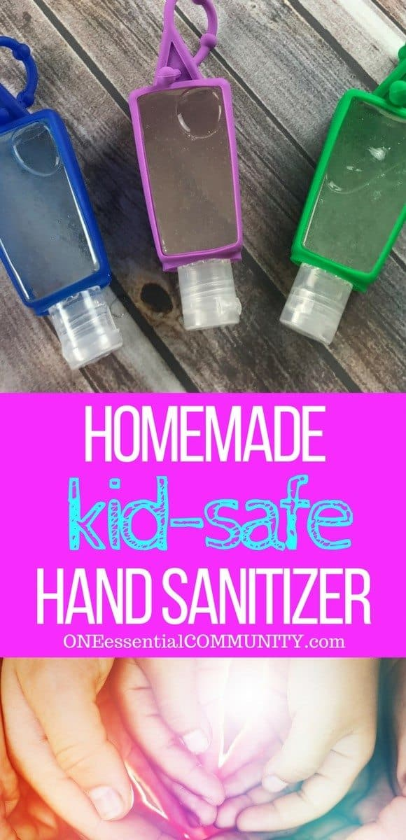 DIY kid-safe hand sanitizer recipe with essential oils - Germs are everywhere.  When you can't get to a sink to wash your hands, keep clean with this natural homemade hand sanitizer gel {with essential oils}.