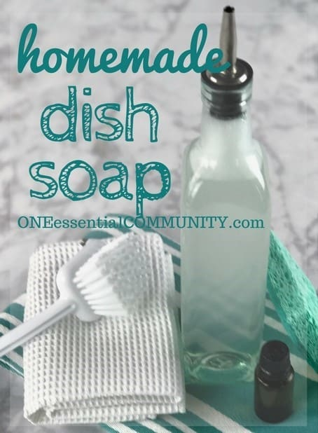 Homemade dish soap with the cleaning power of essential oils. Makes lots and lots of bubbles, cuts through grease, rinses well (even in hard water), gets dishes, silverware, and even glasses squeaky clean and sparkling. And it smells great!