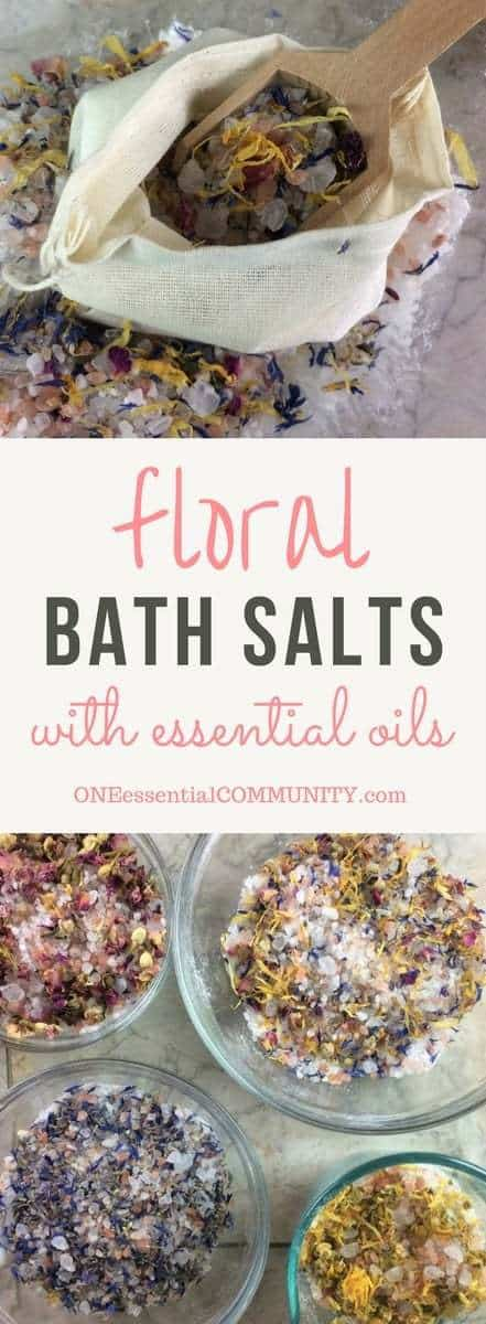 DIY floral bath salts -- a great source of minerals and trace elements, and help remove toxins from your skin. Plus depending on the essential oils you choose to use, they can help calm, improve sleep, reduce inflammation, ease achy muscles, lessen anxious feelings, improve circulation, and soothe dry, irritated skin. doTERRA, Young Living, essential oil bath salts, DIY salt salts, essential oil recipe