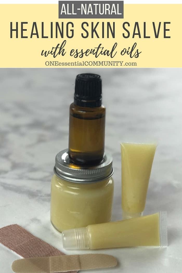 DIY all-purpose essential oil healing skin salve recipe: eczema, chapped skin, cracked heels, minor cuts, bug bites, bee stings, rash, burns, and more. essential oil DIY, essential oil recipe, doTERRA, Young Living