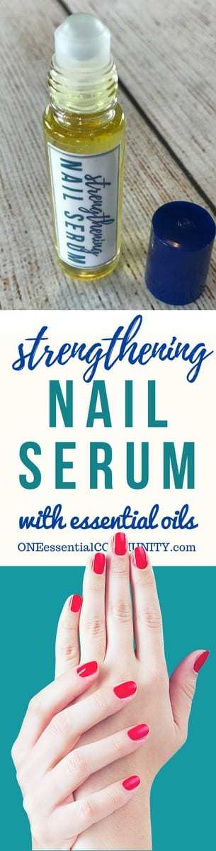 DIY essential oil nail serum for dry, weak, brittle fingernails. Nourishes, strengthens, stimulates healthy nail growth. And it restores moisture to make nails more flexible and resilient. #essentialoils #essentialoilrecipes #nailserum #naturalDIY #essentialoilserum #rollerbottlerecipes #easyDIY #naturalbeauty