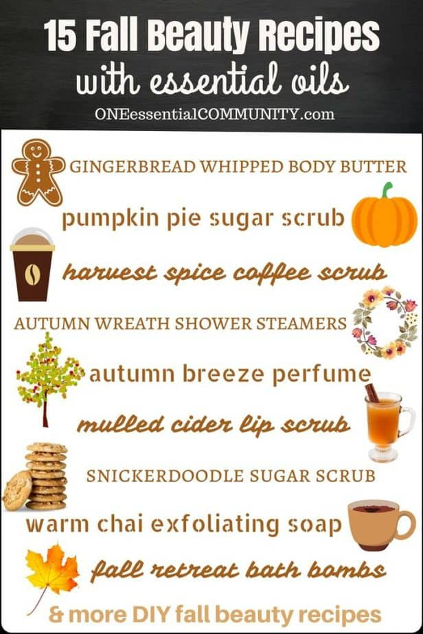 15 quick & easy DIY recipes for fall: gingerbread whipped body butter, pumpkin pie sugar scrub, coffee scrub, autumn breeze essential oil perfume, lip scrub, bath salts, chai soap, shower steamers, bath bombs, and more fall DIY essential oil recipes. natural DIY recipes, essential oil DIY, essential oil recipes, natural beauty, fall DIY recipes #essentialoilrecipes #essentialoilDIY #doTERRA #Young Living