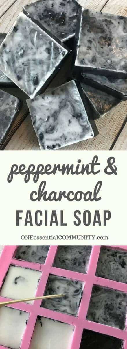 Easy DIY peppermint & charcoal detox soap recipe with peppermint essential oil. Helps increase circulation, unclogs pores, remove impurities, fight acne, and improve the health of your skin. {essential oils for skin, Young Living, doTERRA, essential oil soap, essential oil DIY, essential oil recipes)