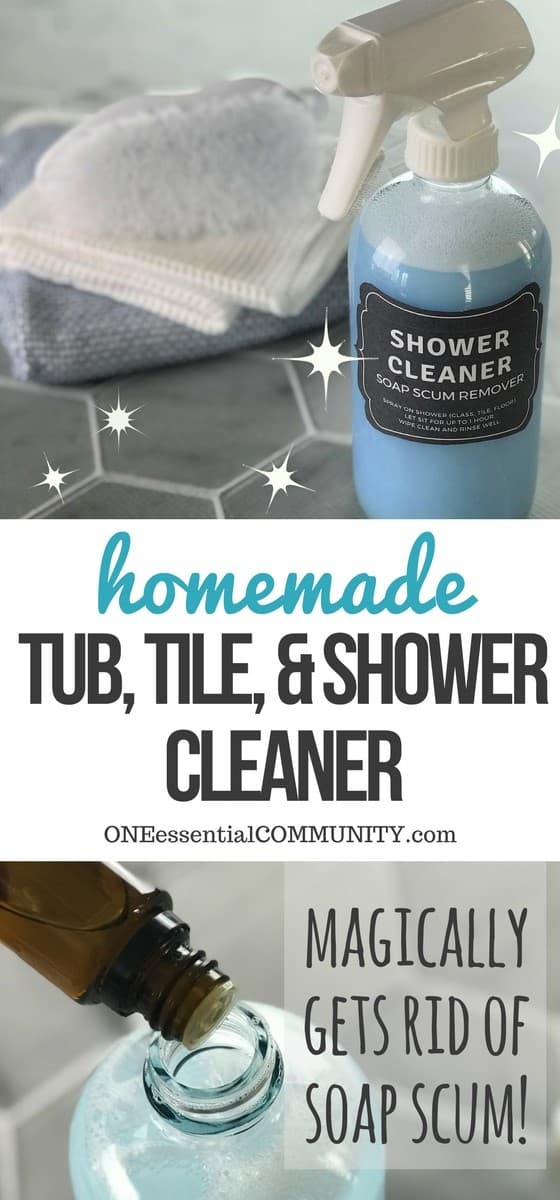 Magic homemade shower cleaner shines, cleans, and disinfects tubs, tile, and glass shower doors with practically no scrubbing to get rid of soap scum, hard water stains, dirt, grease, grime, mold & mildew. Just 3 ingredients (Dawn, vinegar, and essential oils) makes shower clean, shiny, and sparkly! {essential oil cleaner, essential oil shower cleaner, essential oil shower spray} #essentialoilrecipes, doTERRA, Young Living, essential oil cleaner