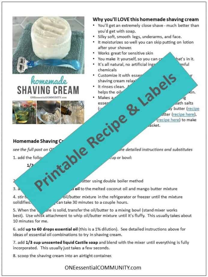 homemade shaving cream with essential oils - It's naturally rich and creamy, making legs and underarms silky smooth. With built-in moisturizers, skin is soft, smooth, and perfectly moisturized. Great for sensitive skin. Includes several recipes for essential oils to customize - relaxing, uplifting, energizing, and more #homemadeshavingcream #diyshavingcream #essentialoilrecipes #DIYrecipes #DIYbeauty #naturalbeauty #essentialoil