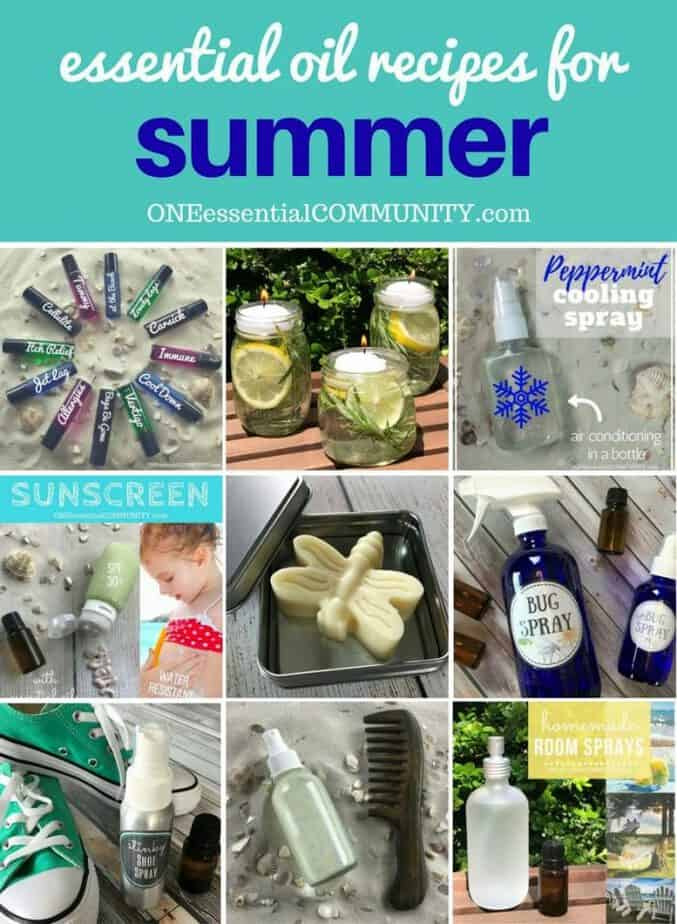 40 favorite essential oil recipes for summer - homemade sunscreen, after-sun spray, cooling spray, DIY deodorant, diffuser blends, summer room sprays, rollerball recipes, bug spray, essential oils for travel, and more. Lots of easy summer essential oil recipes with step-by-step instructions and free printables. #essentialoilrecipes #essentialoilDIY #essentialoildiffuser #essentialoiluses #essentialoils #DIYbeauty #naturalremedies doTERRA, Young Living