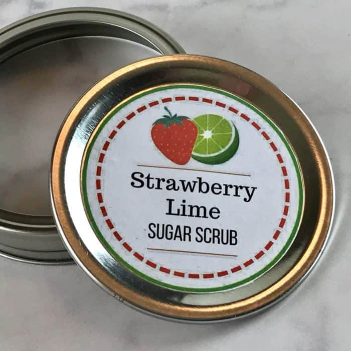 What's better than soft, smooth, exfoliated skin? Soft, smooth, exfoliated skin that smells like fresh-picked strawberries! Homemade strawberry lime sugar scrub recipe {with essential oils} Essential oil recipe, essential oil DIY, homemade sugar scrub, natural beauty recipe, essential oil sugar scrub, essential oil gifts, doTERRA, Young Living, DIY gifts