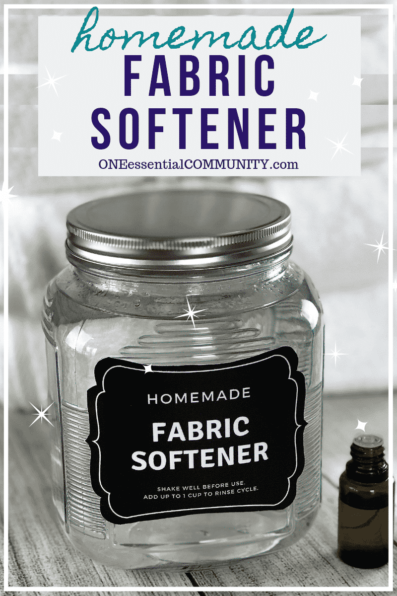 homemade fabric softener recipe made with essential oils- free printable label- This easy 2-ingredient natural, non-toxic homemade fabric softener is better than store-bought versions.  It's cheap, easy to make, gets clothes cleaner than detergent alone, makes towels soft, fluffy & absorbent, helps prevent static cling and smells great!
