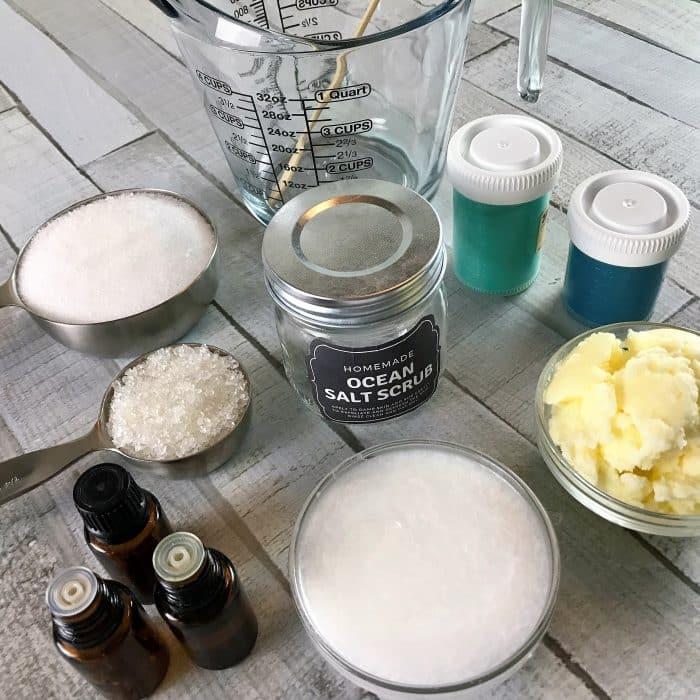 Copycat Lush Ocean Salt scrub recipe made with essential oils {homemade salt scrub, DIY, essential oil recipe, diy craft, salt scrub with essential oil, essential oil for skin, doTERRA, Young Living, Plant Therapy}