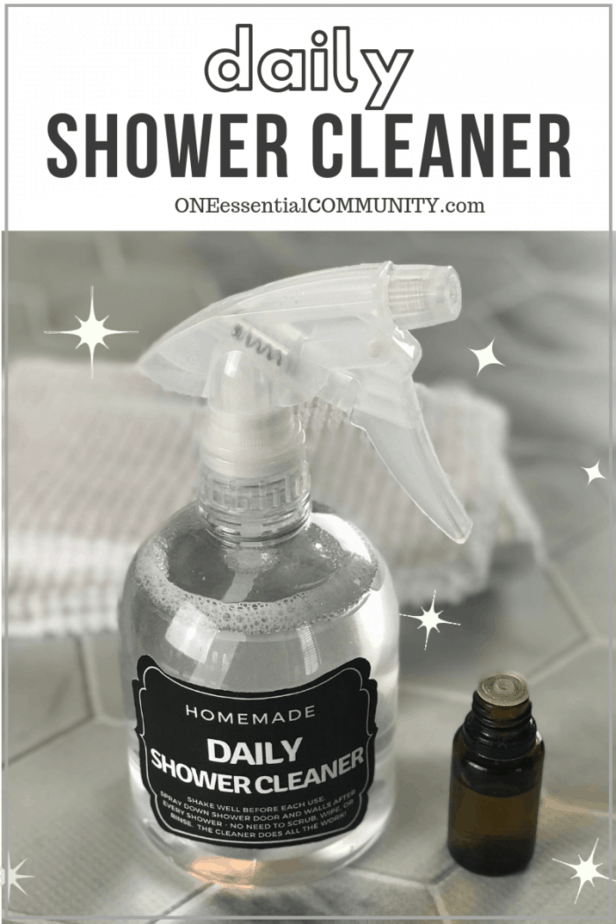 homemade daily shower cleaner spray recipe {made with essential oil} - natural, non-toxic after shower cleaner that cuts through soap scum, fights mold & mildew, and leave tub and shower sparkling clean. even cleans glass shower doors. {essential oil recipe, DIY cleaning recipe, doTERRA, Young Living, Plant Therapy, #DIY, #cleaning}