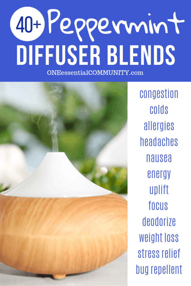 40+ peppermint essential oil diffuser blend recipes for congestion, colds, allergies, headache, nausea, energy, uplift, focus, weight loss, stress, and bug repellent -- by ONEessentialCOMMUNITY.com