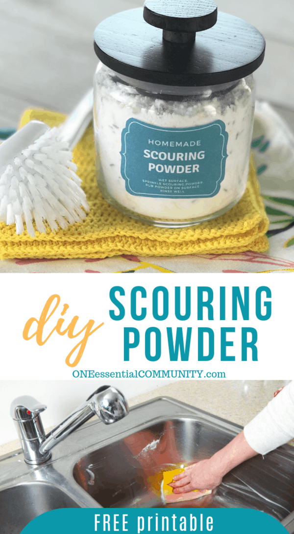 homemade scouring powder cleaner recipe made with essential oils, great cleaning for sinks, tubs, showers, toilets and more. gets rid of marks and scratches, makes surfaces shiny and sparkling, deodorizes and freshes as it disinfects. DIY cleaning recipe, essential oil recipe, doTERRA, Young Living, #essentialoil #essentialoilrecipe #doterra #youngliving