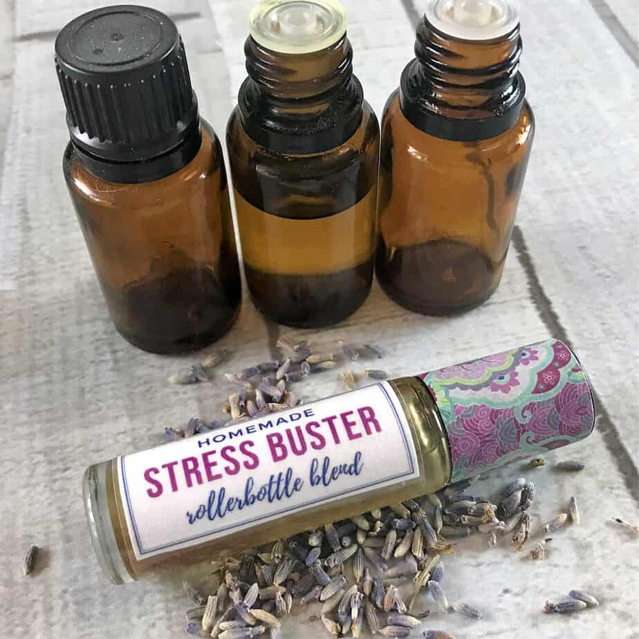 Stress Buster Roller Bottle Blend Recipe-- Essential oil rollerball recipe to help ease anxiety, lessen stress, and reduce tension. Helps with calming, peaceful, relaxing, tranquil. essential oil recipe, natural DIY for anxiety, doTERRA, Young Living, #doTERRA #YoungLiving #essentialoils #essentialoilrecipe