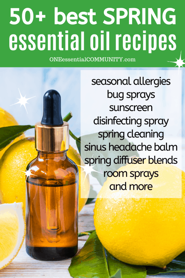 "DIY essential oil recipes for seasonal allergies, bug sprays, sunscreen, spring diffuser blends, spring room spray, homemade ""febreeze"" linen spray, DIY disinfecting spray, sinus headache balm, bug repellent lotion bars, essential oil spring cleaning recipes, and LOTS MORE! There are rollerball recipes, inhalers, sprays, diffuser blends, and more {essential oil recipes, DIY cleaning, doTERRA, Young Living, Plant Therapy}"